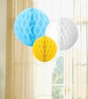 Wabenball Set - pastellblau, weiß, gelb - 3-teilig