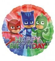 "Runder Folienballon ""PJ Masks - Pyjamahelden"" - Happy Birthday"