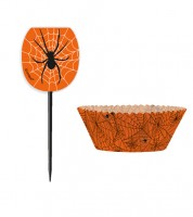 "Cupcake Kit ""Spinnennetz"" - orange - 24 teilig"