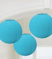 Lampion-Set - 3-teilig - 24 cm - türkisblau
