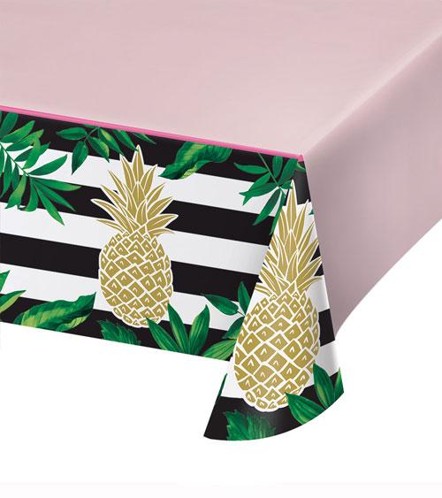 kunststoff tischdecke goldene ananas 137 x 259 cm. Black Bedroom Furniture Sets. Home Design Ideas