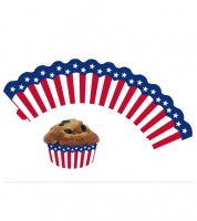 "Cupcake-Wrapper ""USA"" - 12 Stück"