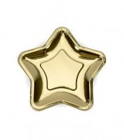 Kleine Stern-Pappteller - metallic gold - 6 Stück