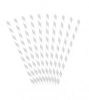 Papierstrohhalme gestreift - silber - 10 Stück