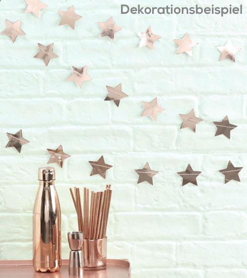 Stern girlande metallic rosegold 5 m pink dots for Rosegold deko