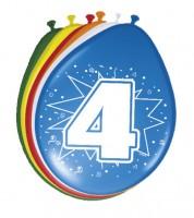 """Luftballon-Set """"4 Jahre"""" - bunt - 8 Stück"""