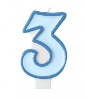 """Geburtstagskerze """"3"""" - hellblau/dunkelblau"""