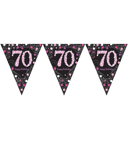 """Wimpelgirlande """"Sparkling Pink"""" - 70. Geburtstag - 4 m"""