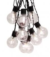 "LED-Party-Girlande ""Bulb"" - transparent/schwarz - 9,5 m"