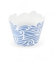 """Cupcake-Wrapper """"Wellen"""" - blau/weiß - 6 Stück"""