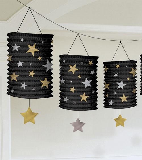 Laternengirlande mit Sternen - schwarz - 3,6 m
