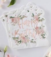 """Servietten """"Floral Mix"""" - Happy Birthday - 16 Stück"""