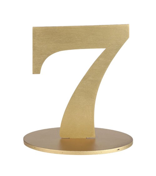 "Zahl aus Holz ""7"" - gold - 11,5 x 15 cm"