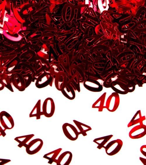 """Streukonfetti """"40"""" - metallic rot - 14 g"""