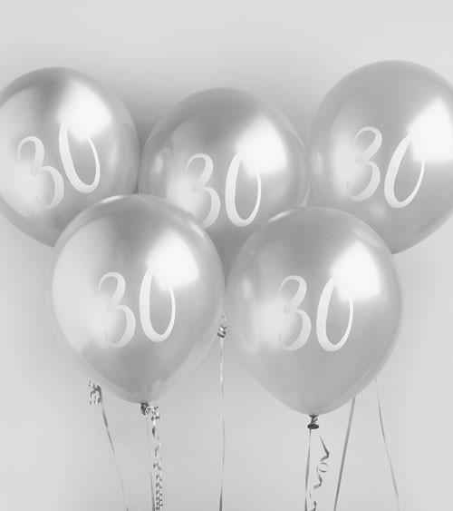 """Metallic-Luftballons """"30"""" - silber - 5 Stück"""