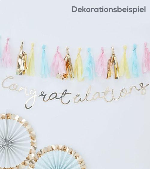 """Schriftzuggirlande """"Congratulations"""" - gold - 1,5 m"""