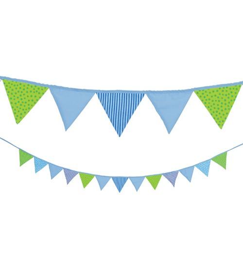 Wimpelkette aus Stoff - blau/grün - 2,2 m
