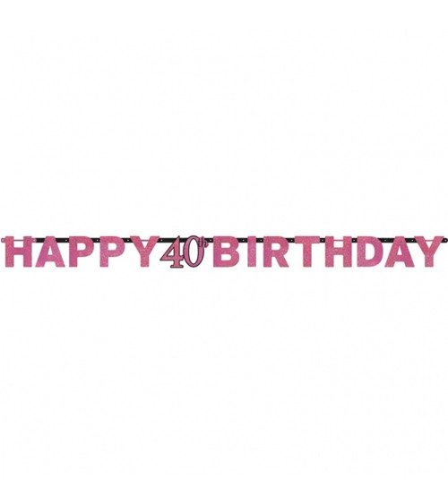 "Happy Birthday-Girlande ""Sparkling Pink"" - 40. Geburtstag"