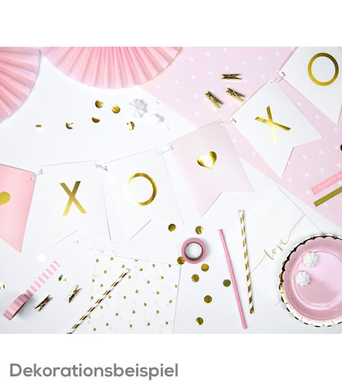 "DIY-Wimpelgirlande ""Xo Xo"" - rosa/weiß/gold - 95 cm"