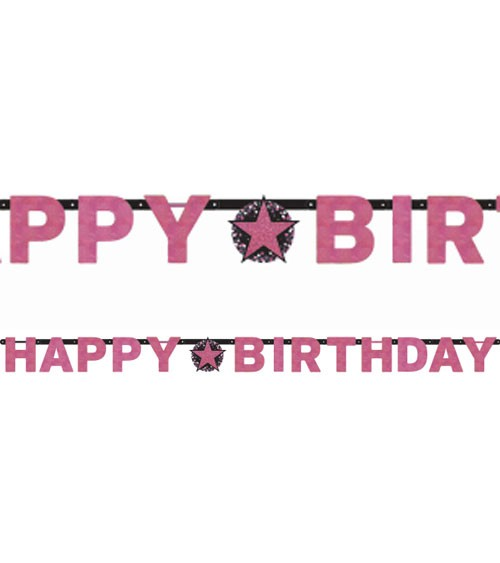 "Happy Birthday-Girlande ""Sparkling Pink"" - 2,13 m"
