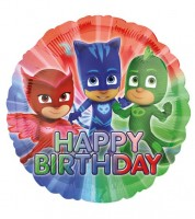 "Runder Folienballon ""PJ Masks - Pyjamahelden"" - Happy Birthday"