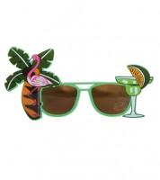 Partybrille mit Flamingo und Cocktail