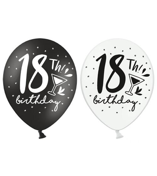 """Luftballon-Set """"18th Birthday"""" - schwarz/weiß - 6 Stück"""