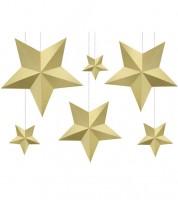 """Hängedekoration """"3D-Sterne"""" - gold - 6 Stück"""