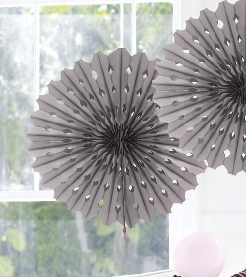 Papier-Deko-Fächer - 45 cm - silber