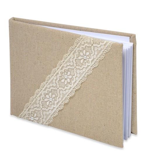 Gästebuch aus Leinen mit Spitze