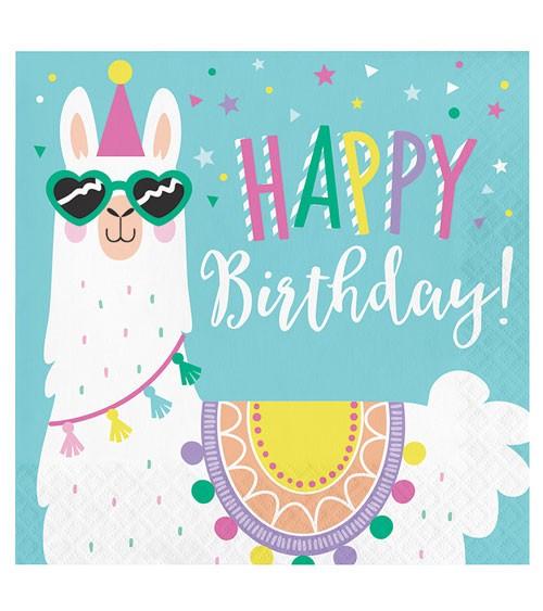 "Servietten ""Lama Party"" - Happy Birthday - 16 Stück"