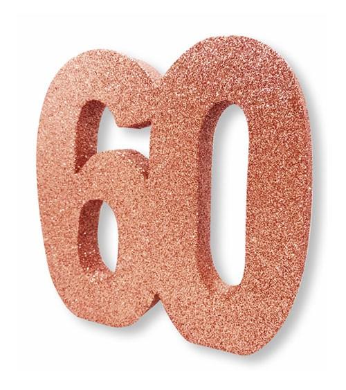 "Tischdeko Zahl ""60"" - glitter rosegold"