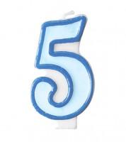 """Geburtstagskerze """"5"""" - hellblau/dunkelblau"""