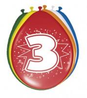 """Luftballon-Set """"3 Jahre"""" - bunt - 8 Stück"""