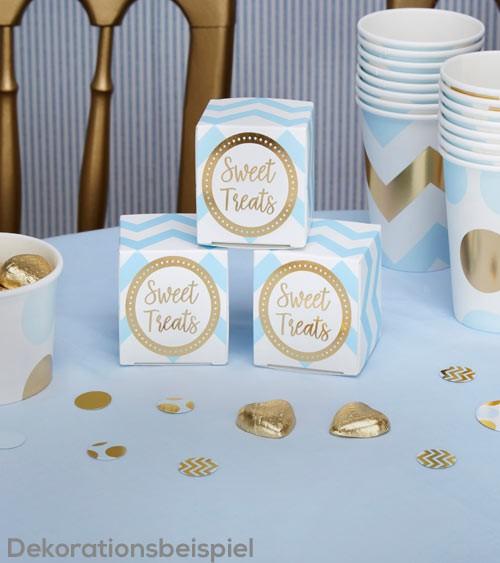 """Geschenkboxen """"Hellblau & Gold"""" - 10 Stück"""