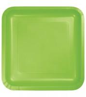 Eckige Pappteller - fresh lime - 18 Stück