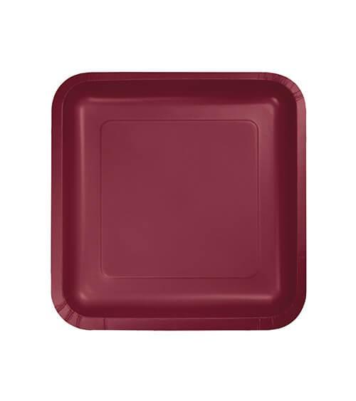 Kleine eckige Pappteller - burgund - 18 Stück