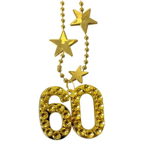 """Goldene Halskette aus Kunststoff """"60. Geburtstag"""""""