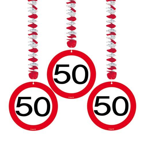 """3er Motivgirlande """"Verkehrsschild"""" - 50. Geburtstag - 3 Stück"""