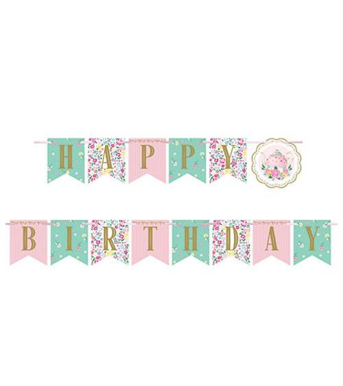 """Happy Birthday Girlande """"Floral Tea Party"""" - 1,67 m"""