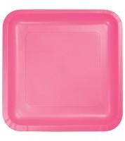 Eckige Pappteller - candy pink - 18 Stück