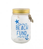 "Spardose aus Glas ""Beach Fund"""