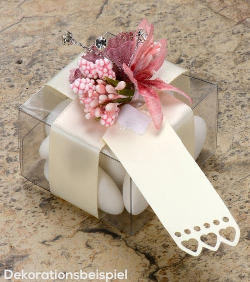 Kleine Geschenkanhänger mit Herzen - elfenbein - 10 Stück