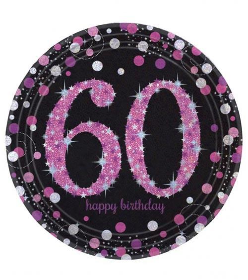 """Pappteller """"Sparkling Pink"""" - 60. Geburtstag - 8 Stück"""