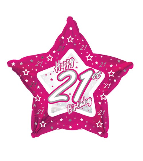 "Stern-Folienballon ""Happy 21st Birthday"" - pink"