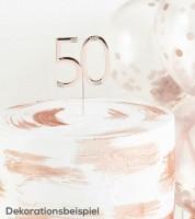 """Deko-Stecker Zahl """"50"""" mit Strasssteinen - rosegold"""