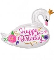"SuperShape-Folienballon ""Schwan - Happy Birthday"" - 73 x 55 cm"