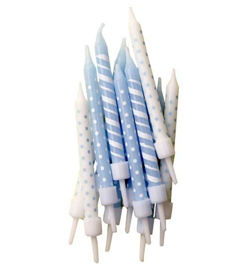 """Kuchenkerzen """"Dots & Stripes"""" - hellblau/weiß - 12 Stück"""