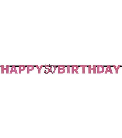 "Happy Birthday-Girlande ""Sparkling Pink"" - 50. Geburtstag"