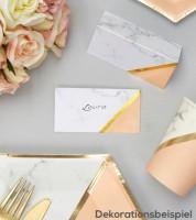 """Platzkarten """"Marmor"""" - pfirsich/gold - 10 Stück"""